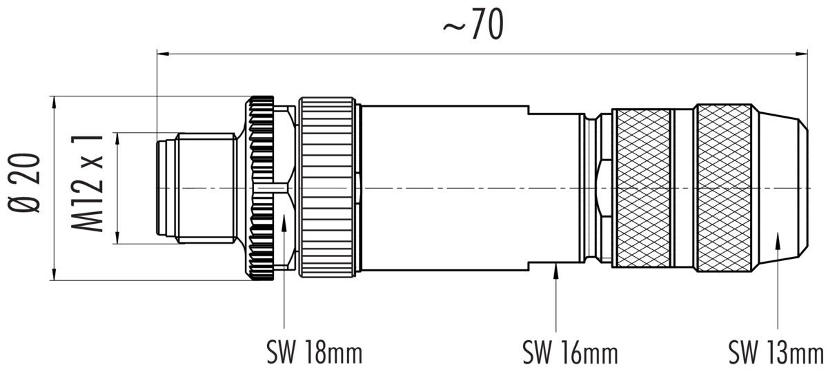 Kabelstekker, afgeschermd, CAT 5 schroefklemaansluiting