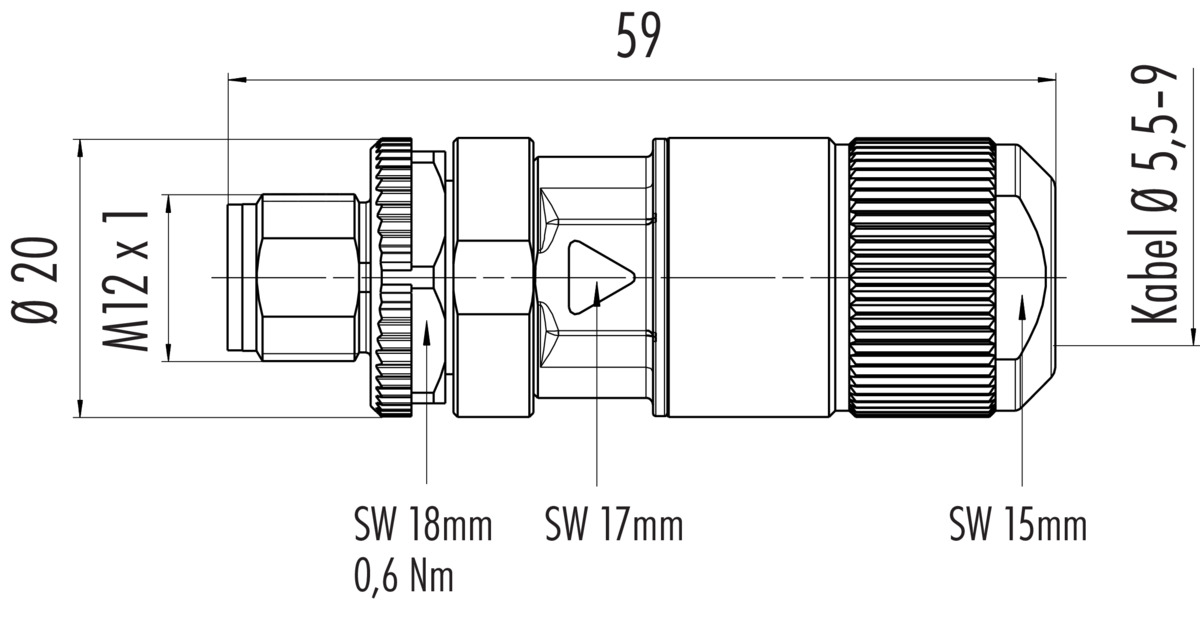 Male cable connector with X-coding, CAT 6A, insulation