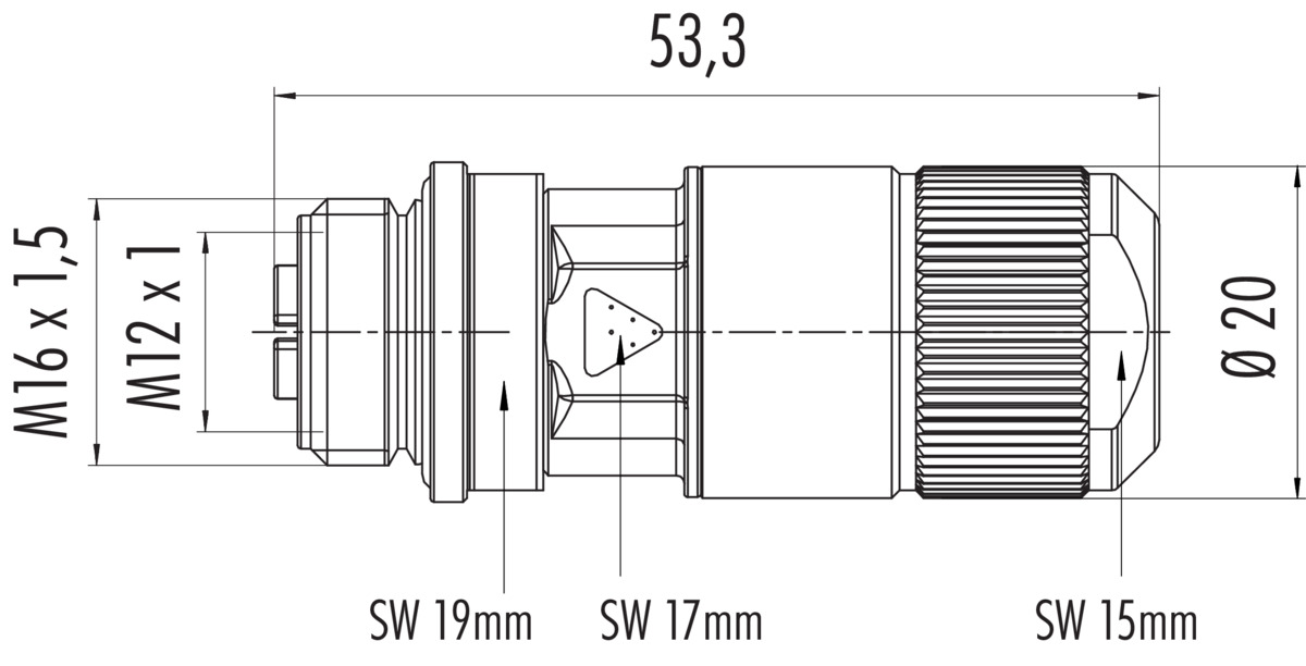 Female cable connector with X-coding, CAT 6A, insulation