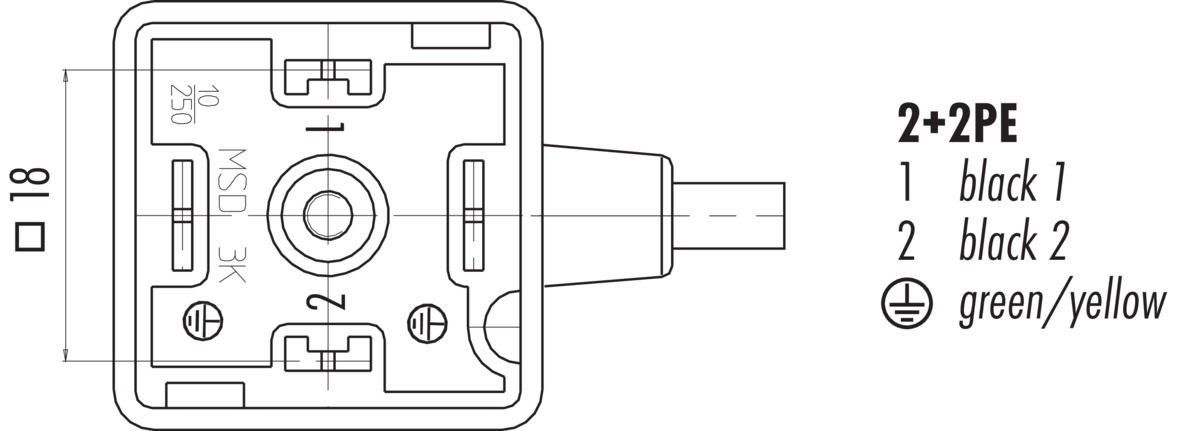 Connecting cable, Female power connector DIN EN 17530-803