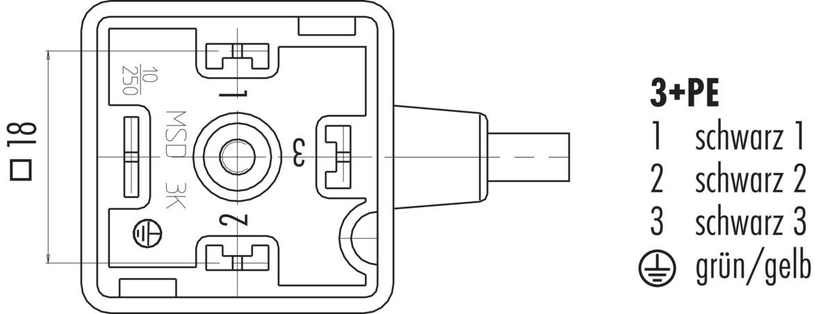Female solenoid valve connector DIN EN 175301-803, low