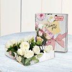 Blumen Geschenk: Rosenbrief mit weißen Rosen
