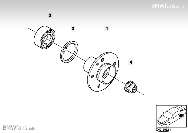 Side shaft/wheel bearings BMW 3' E36, 318is (M42) — BMW