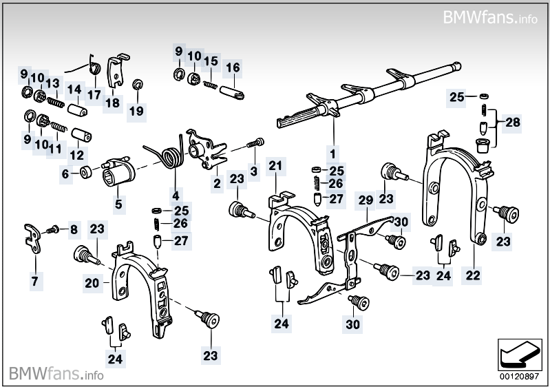S5D...Z inner gear shifting parts BMW 3' E36, M3 (S50
