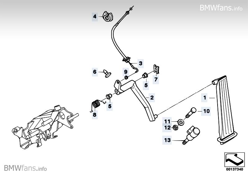 Accelerator pedal/bowden cable BMW 5' E39, 523i (M52