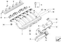 Cooling System Water Hoses BMW 5' E39, 528i (M52) — BMW