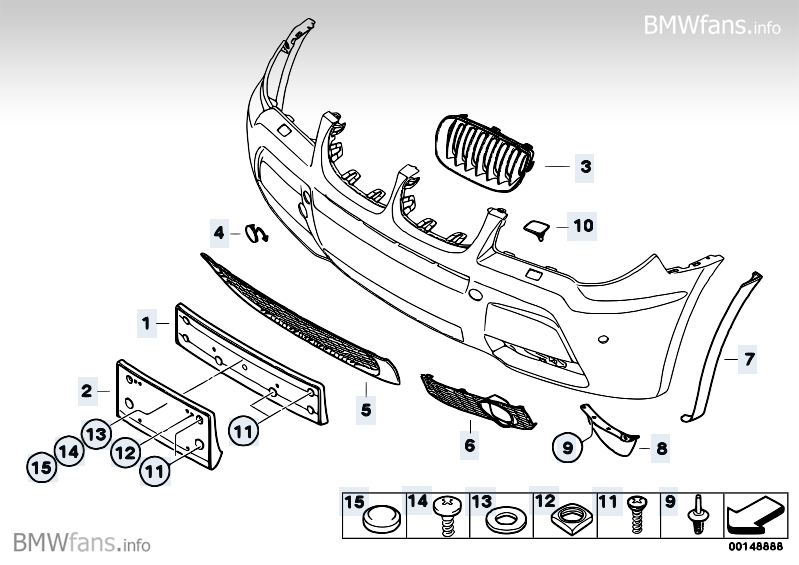 Mounting parts for M front bumper trim BMW X3 E83, X3 2.5i