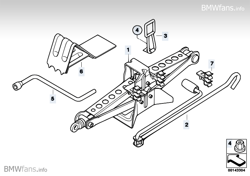 Car tool/Lifting jack BMW X3 E83, X3 2.5i (M54) — BMW