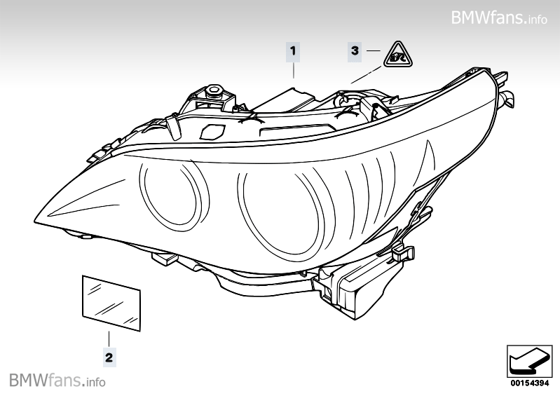 Headlight BMW 5' E61 Facelift, 525i (N52N) — BMW parts catalog