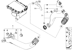 Charge-air duct BMW 3' E92, 335i (N54) — BMW parts catalog