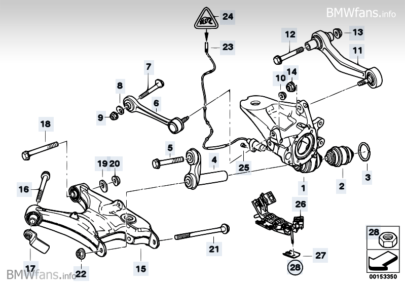 Rear axle support/wheel suspension BMW X5 E53, X5 4.8is