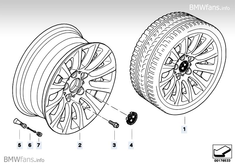 BMW LA wheel multi-spoke 282 BMW 3' E90, 316i (N43) — BMW
