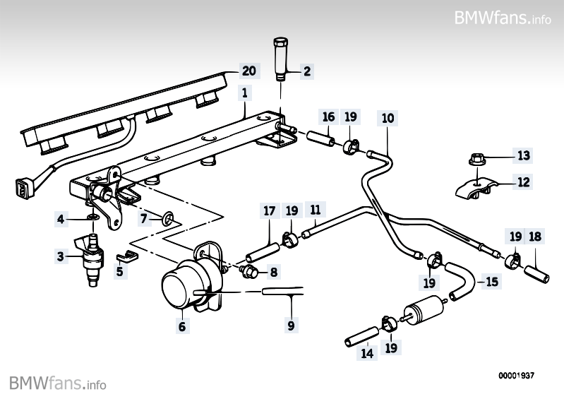 Valves/pipes of fuel injection system BMW 3' E30, 318i