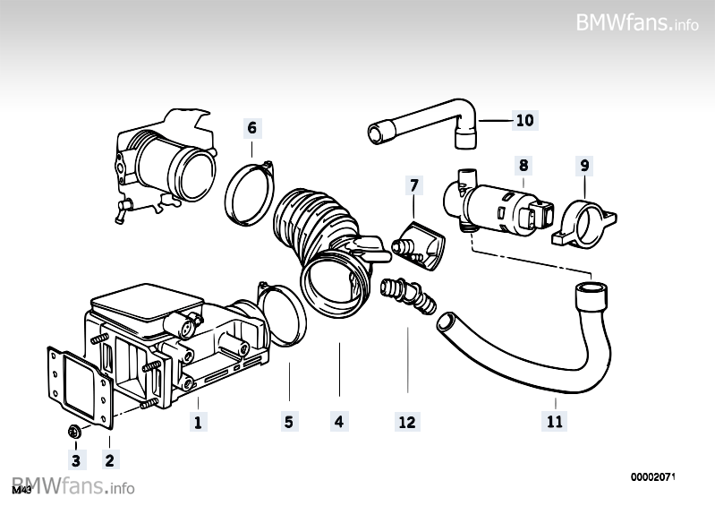 Volume air flow sensor BMW Z3 E36, Z3 1.8 (M43) — BMW
