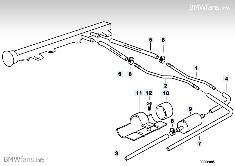 Fuel pipe BMW 3' E36, 318is (M42) — BMW parts catalog
