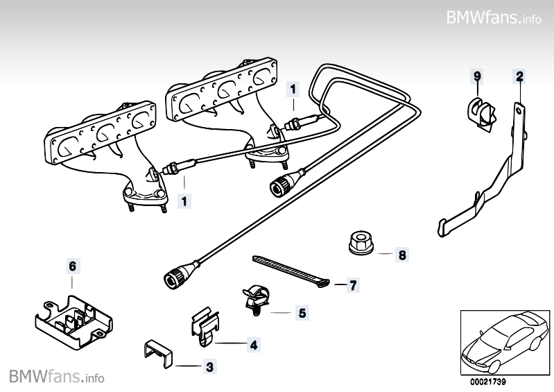 Lambda Probe Fixings BMW 5' E39, 528i (M52) — BMW parts