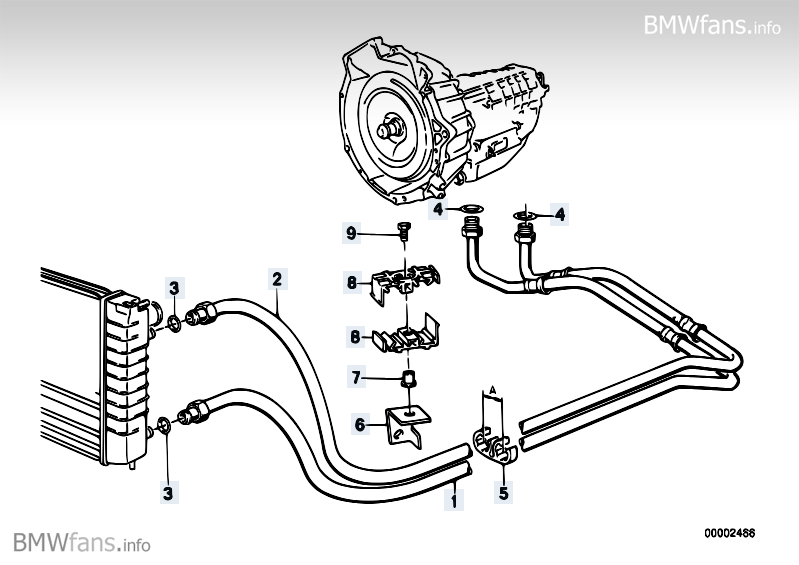 Transmission oil cooling BMW 3' E30, 316i (M40) — BMW