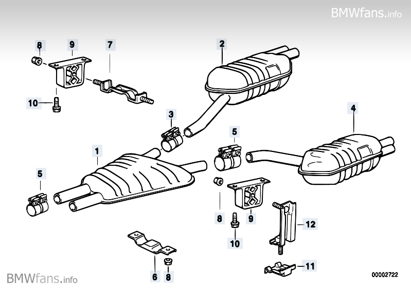Exhaust system, rear BMW 8' E31, 850Ci (M73) — BMW parts