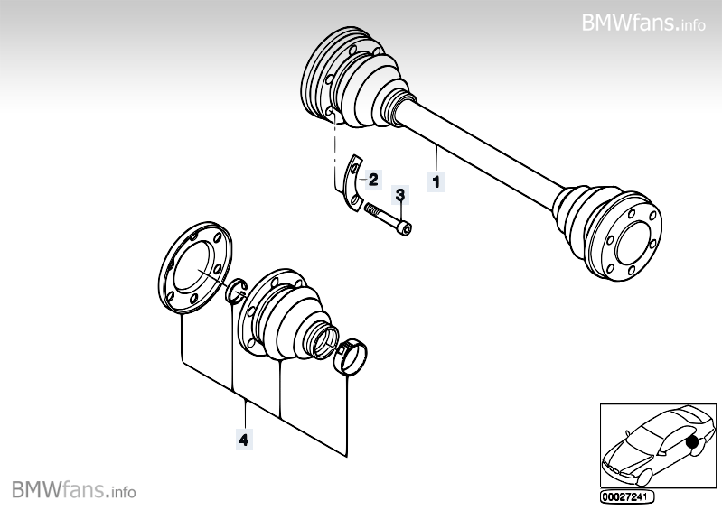 Output shaft BMW 5' E34, 525i (M50) — BMW parts catalog