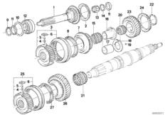 Manual transmission — illustrations BMW 5' E34, 525i (M50