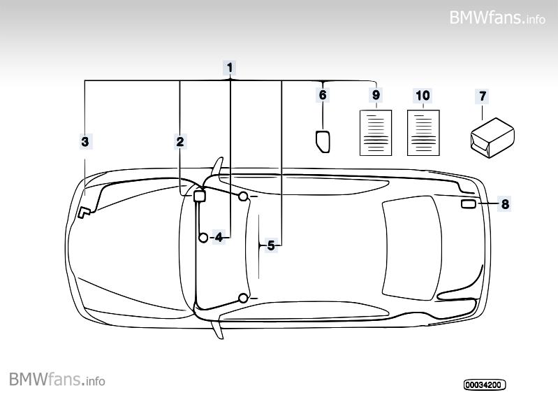 Alarm system BMW 3' E36, 316i (M40) — BMW parts catalog