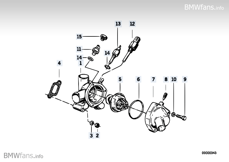 Cooling system-thermostat housing BMW 3' E30, 320i (M20