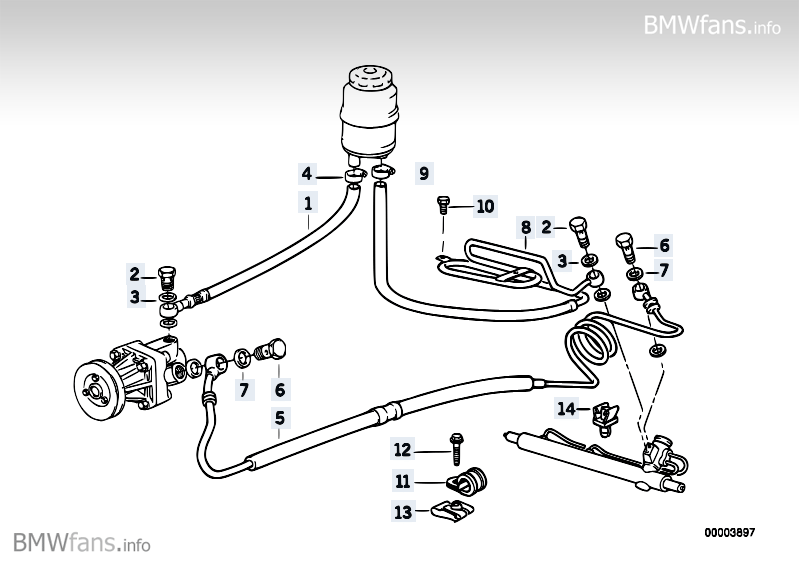 Hydro steering-oil pipes BMW 3' E36, 318is (M42) — BMW