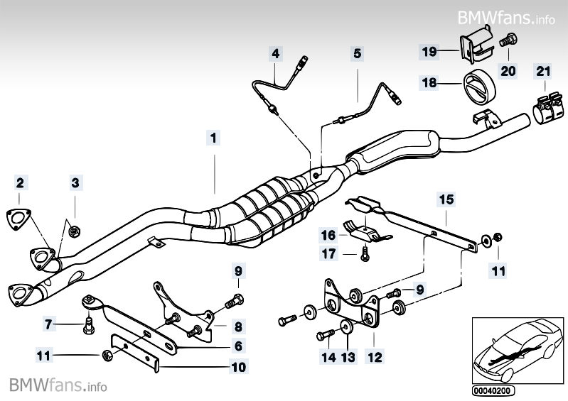 Bmw e36 exhaust system diagram