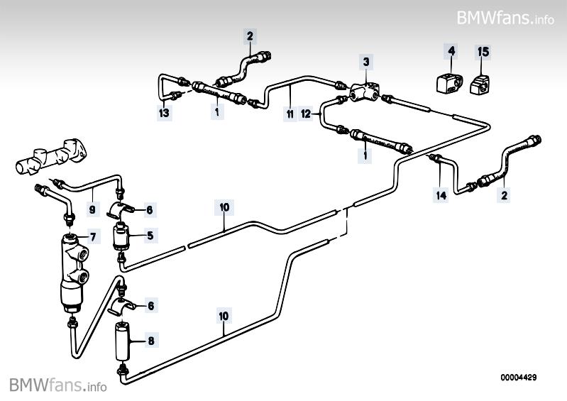 Brake pipe rear BMW 3' E30, M3 (S14) — BMW parts catalog