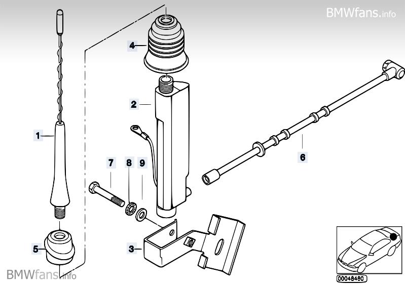 Single components f short rod antenna BMW Z3 E36, Z3 2.8
