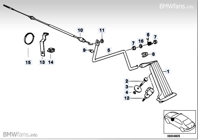 Accelerator pedal/bowden cable RHD BMW 3' E36, 318i (M43