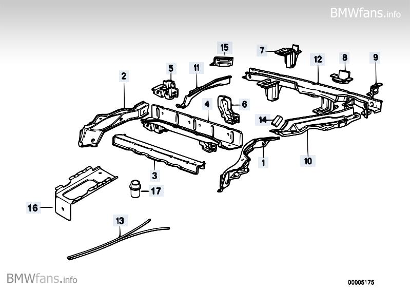 Floor parts rear exterior BMW 5' E34, 525i (M50) — BMW
