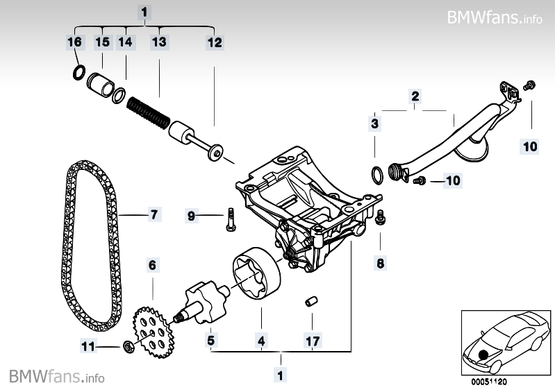 Lubrication system/Oil pump with drive BMW X3 E83, X3 2.5i