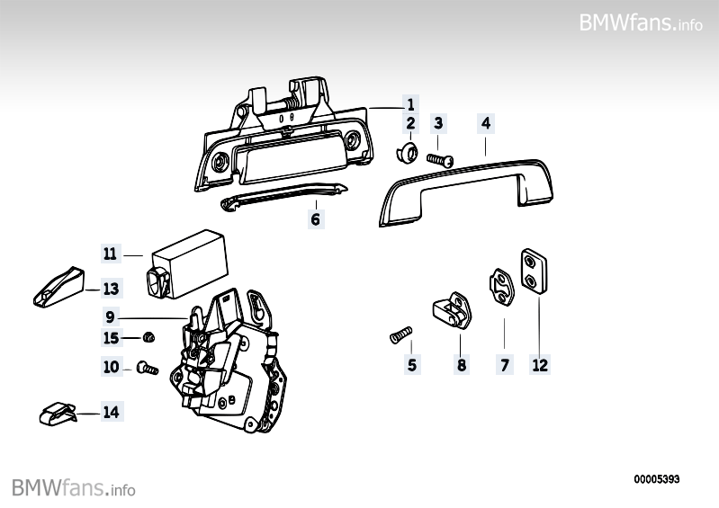 Door handle/door lock rear BMW 3' E36, 316i (M40) — BMW