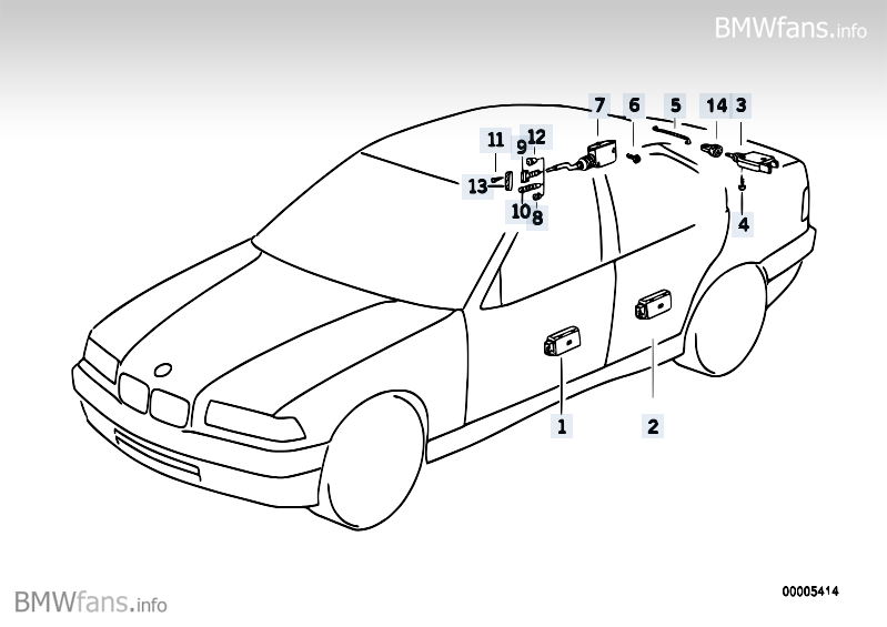 Central locking system BMW 3' E36, 318is (M42) — BMW parts