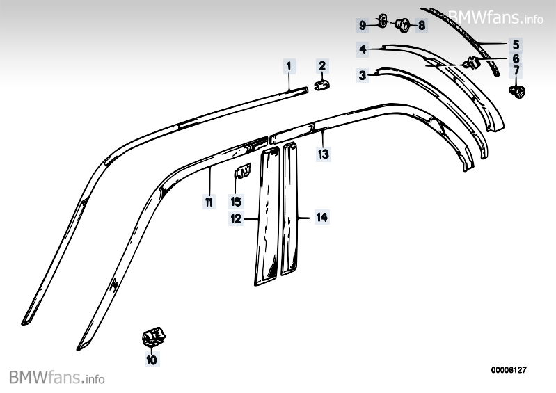 Exterior trim BMW 3' E30, 318i (M42) — BMW parts catalog