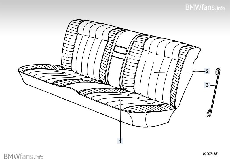 Rear seat cover BMW 5' E34, 520i (M50) — BMW parts catalog