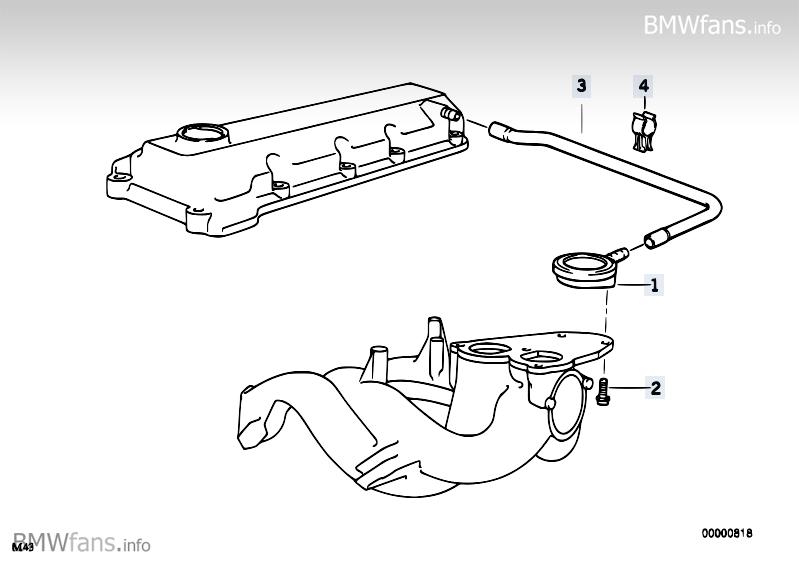 Crankcase-Ventilation BMW 3' E36, 318i (M43) — BMW parts