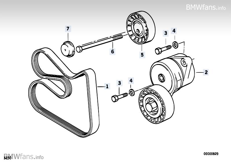 Belt Drive Water Pump/Alternator BMW 3' E36, 325i (M50