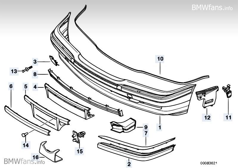 Trim panel, bumper, front BMW 7' E38, 740i (M62) — BMW