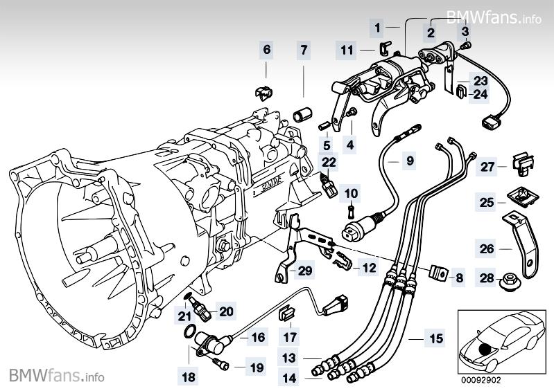 Gearbox parts SMG BMW 3' E36, M3 3.2 (S50) — BMW parts catalog