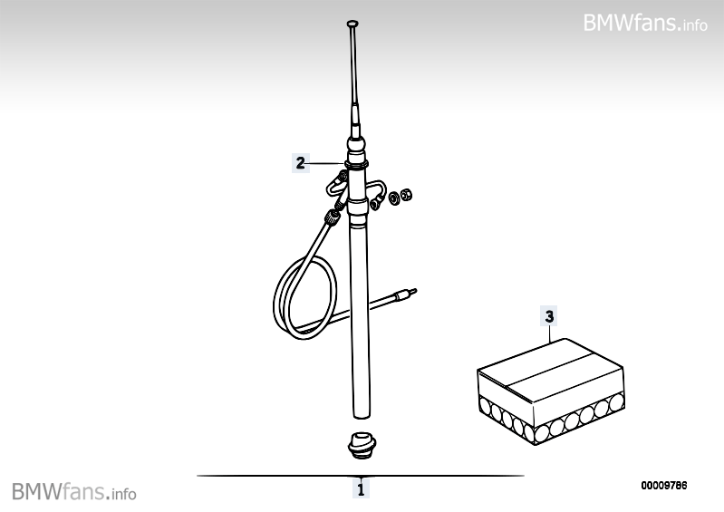 Manual antenna BMW 3' E36, 318i (M40) — BMW parts catalog