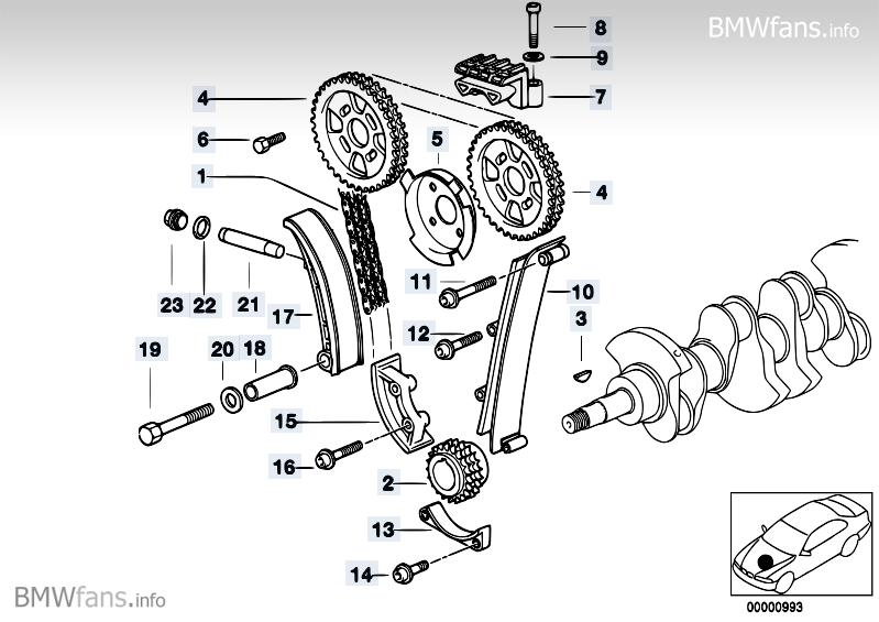 Timing and valve train-timing chain BMW 3' E36, 318is (M44