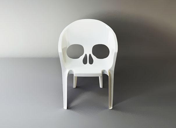 skull chair office emoji pic bored panda