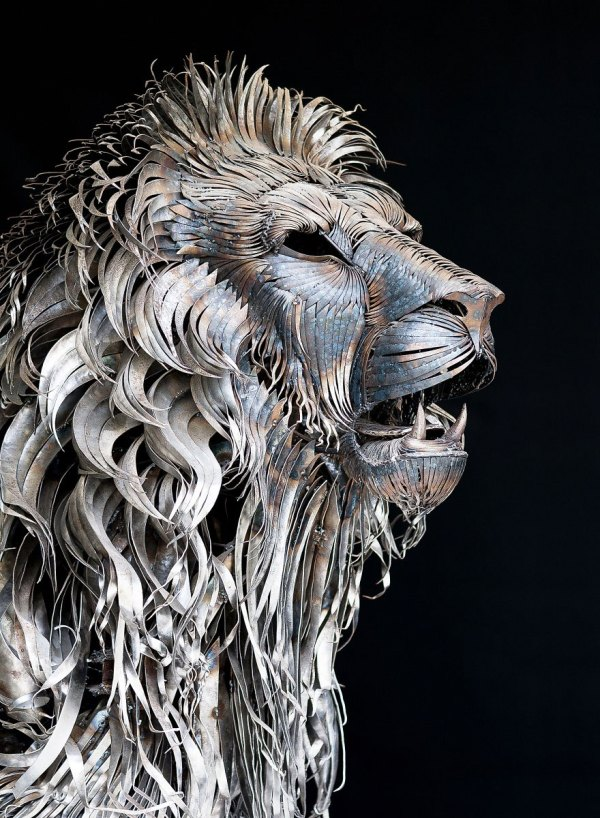 Metal Lion Sculpture