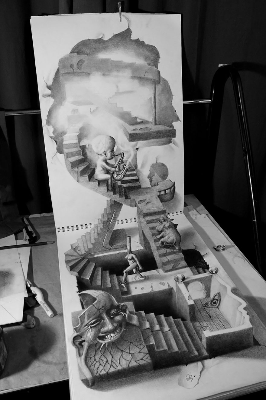 hight resolution of 3d pencil drawings 121