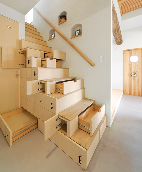 22 Beautiful Stairs That Will Make Climbing To The Second Floor   Best Staircase Design For Small Space   Traditional   Mezzanine   Stairway   Cabinet   Outdoor