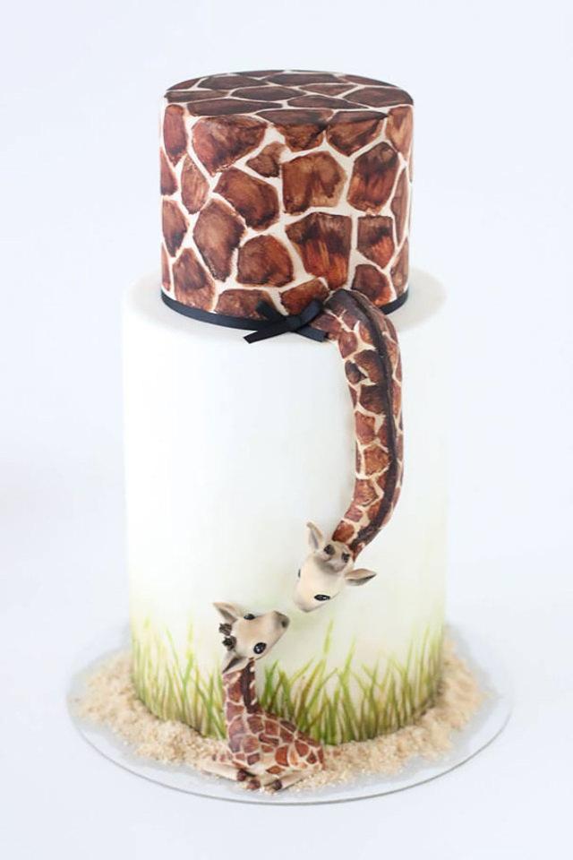 Giraffe Mom And Baby Cake