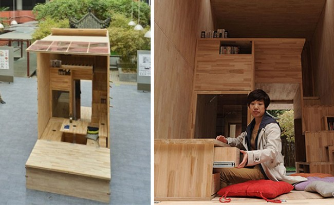 Chinese Students Build Wood House That Occupies Just 7