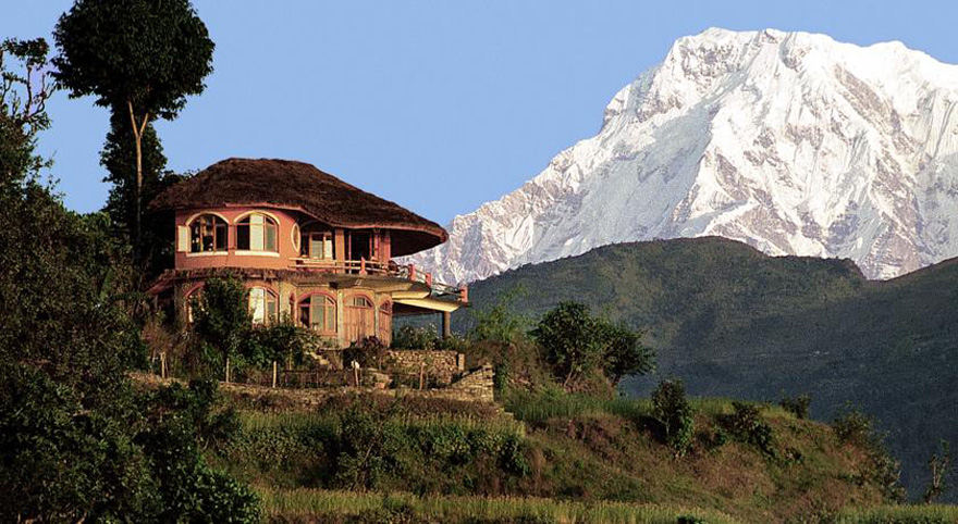 House In Nepal With View Of Himalayas